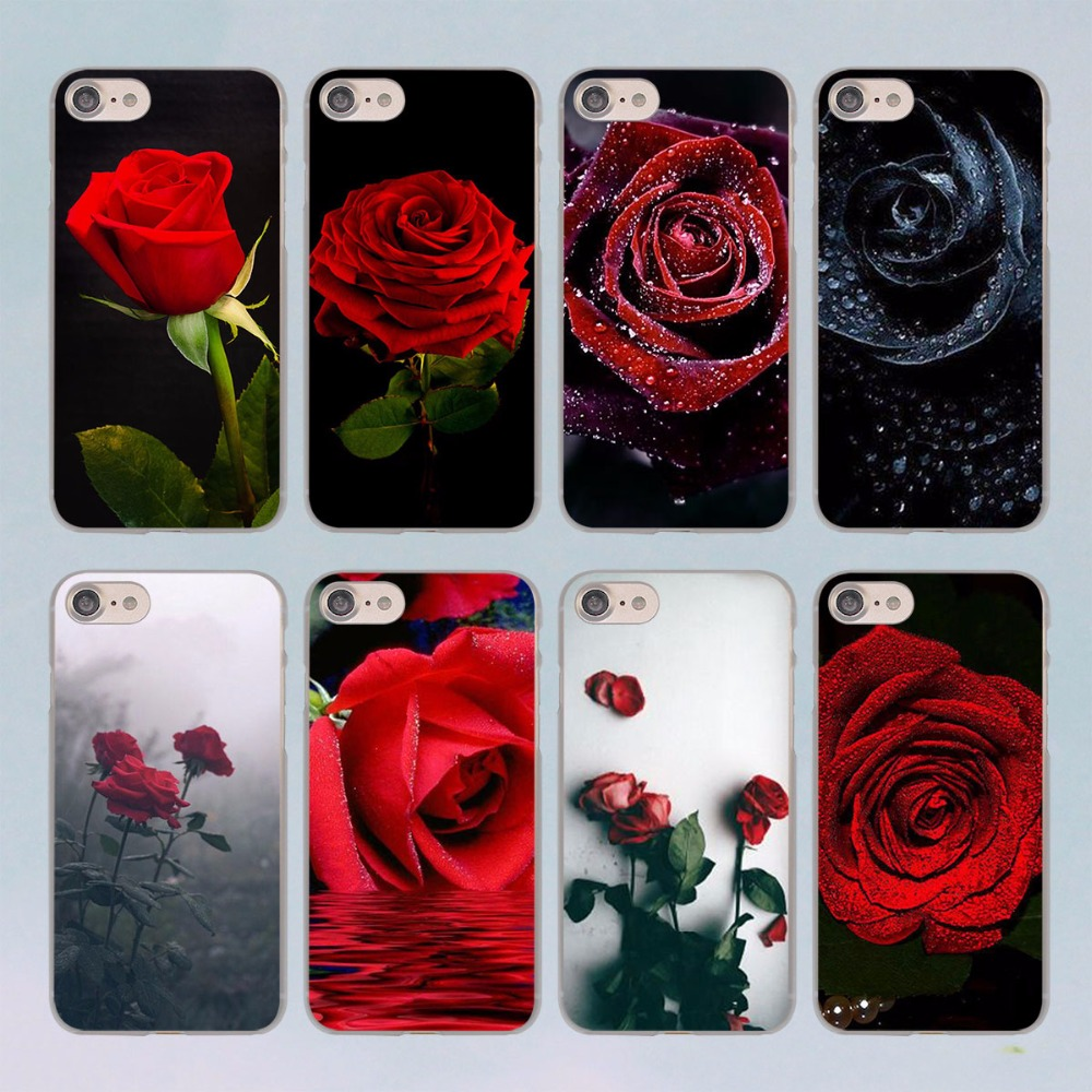 Red Rose Flowers HD Wallpaper design transparent clear hard case cover for Apple iPhone 7 7Plus 6S 6 Plus 5 5s SE 5C