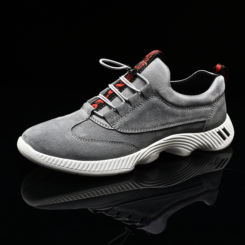 где купить Leather Sneakers Men Large Size 39-46 Mans Shoes Casual Luxury Black Gray Brand Men Sneakers Spring Autumn Suede Shoes по лучшей цене