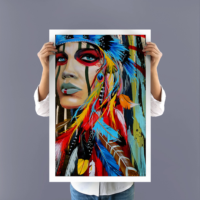 Gentil Wall Decor Canvas Picture Art HD Print Native American Girl Feathered Women  Modern Home Canvas Painting