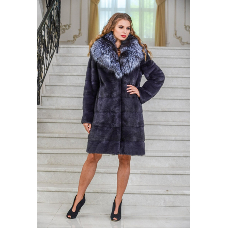 TOPFUR New Luxurious Plus Size Natural Mink Fur With Silver Fox Fur Collar Women Winter Thick Warm Mink Fur Jacket