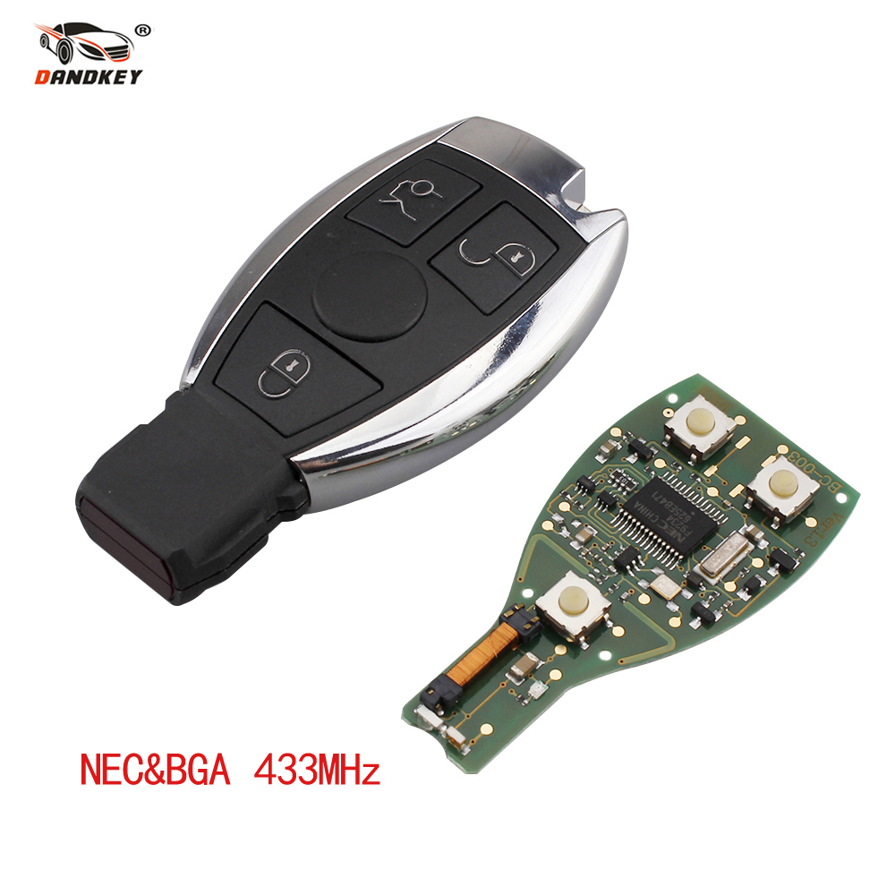 Dandkey 3 Buttons Remote Control Key Fob 433MHz For Mercedes Benz 2000+ NEC&BGA 2001 2008 With ...