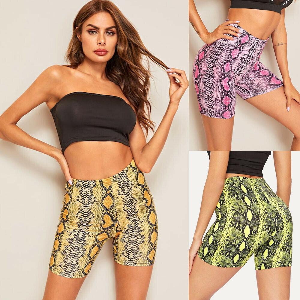 Fashion Women Summer Sexy Shorts Snakeskin Pattern High Waist Shorts Beach Party Fitness Casual Shorts Femme Women Clothes