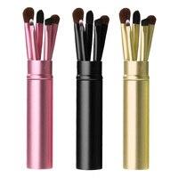 5Pcs Eye Makeup Brushes Set  Eyeshadow Eyebrow Lipbrush Eyeliner Powder Professional Cosmetic Brush Tool Kit With Round Tube