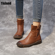 New 2017 Autumn Early Winter Shoes Women Flat Heel Martin Boots Fashion Women's Real Leather Boots Brand Woman Shoes Ankle Botas