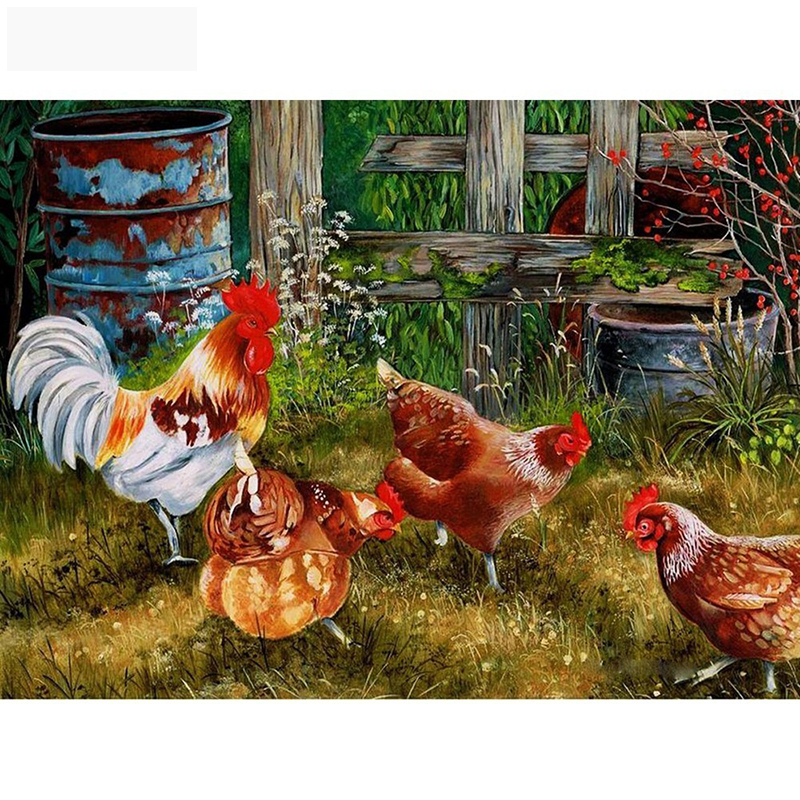 HUACAN-5D-DIY-Diamond-Painting-Chicken-Full-Square-Drill-Diamond-Embroidery-Animal-Diamond-Mosaic-Sets-Picture