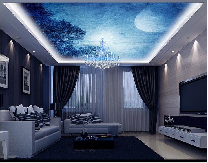 Customized 3d Photo Wallpaper 3d Wall Ceiling Wallpaper Murals Full Moon  Night Dream Sky Zenith Ceiling