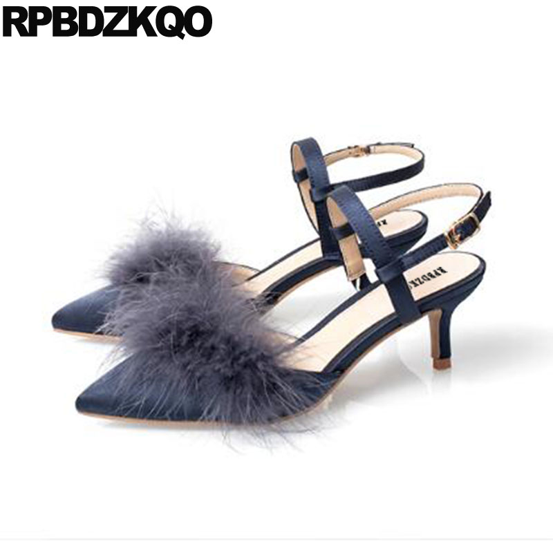 Medium Heels Stiletto Sandals Catwalk Pointed Toe Satin Size 4 34 Ladies Dress Shoes Slingback 33 Strap Feather Blue PumpsMedium Heels Stiletto Sandals Catwalk Pointed Toe Satin Size 4 34 Ladies Dress Shoes Slingback 33 Strap Feather Blue Pumps