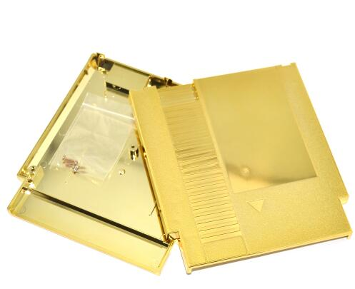 Купить с кэшбэком Golden Color Metal Plating 72 Pins  Game Cartridge Replacement Plastic Shell For NES