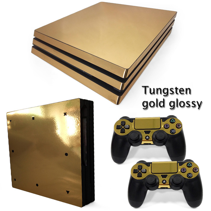 Gold Glossy Vinyl protective Skin Sticker for sony playstation 4 Pro for PS4 Pro sticker China manufacturer free shipping