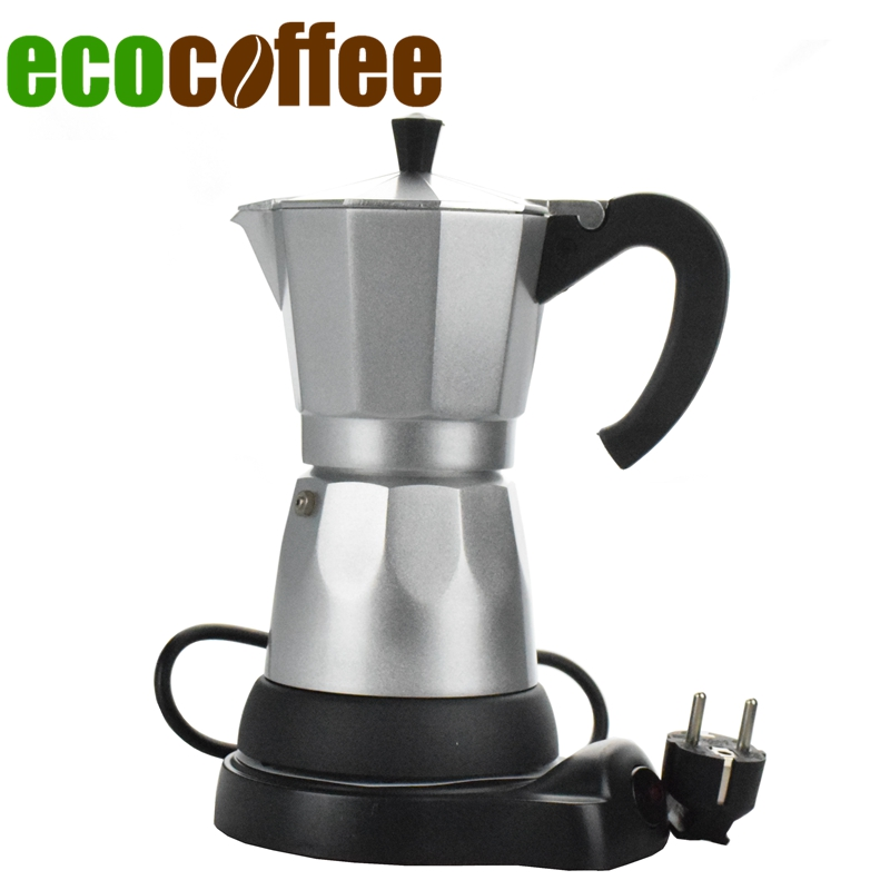 Electric heating mocha pot fully automatic aluminum coffee machine lounged electric coffee pot coffee 220V Europlug