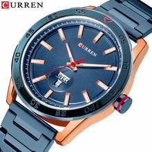 CURREN นาฬิกาผู้ชายหรูหราสแตนเลสสตีลนาฬิกาสบายๆสไตล์ควอตซ์นาฬิกาข้อมือนาฬิกาปฏิทินสีดำนาฬิกาชายของขวัญ
