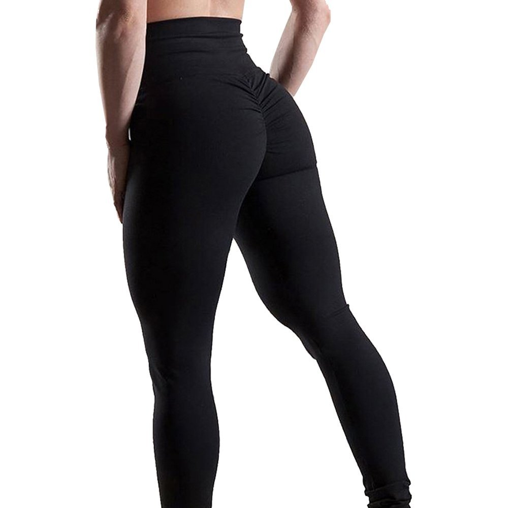 Women's High Waisted Bottom Scrunch Leggings Ruched Yoga Pants Push up Butt Lift Stretchy Trousers Workout black strapless high waisted jumpsuit