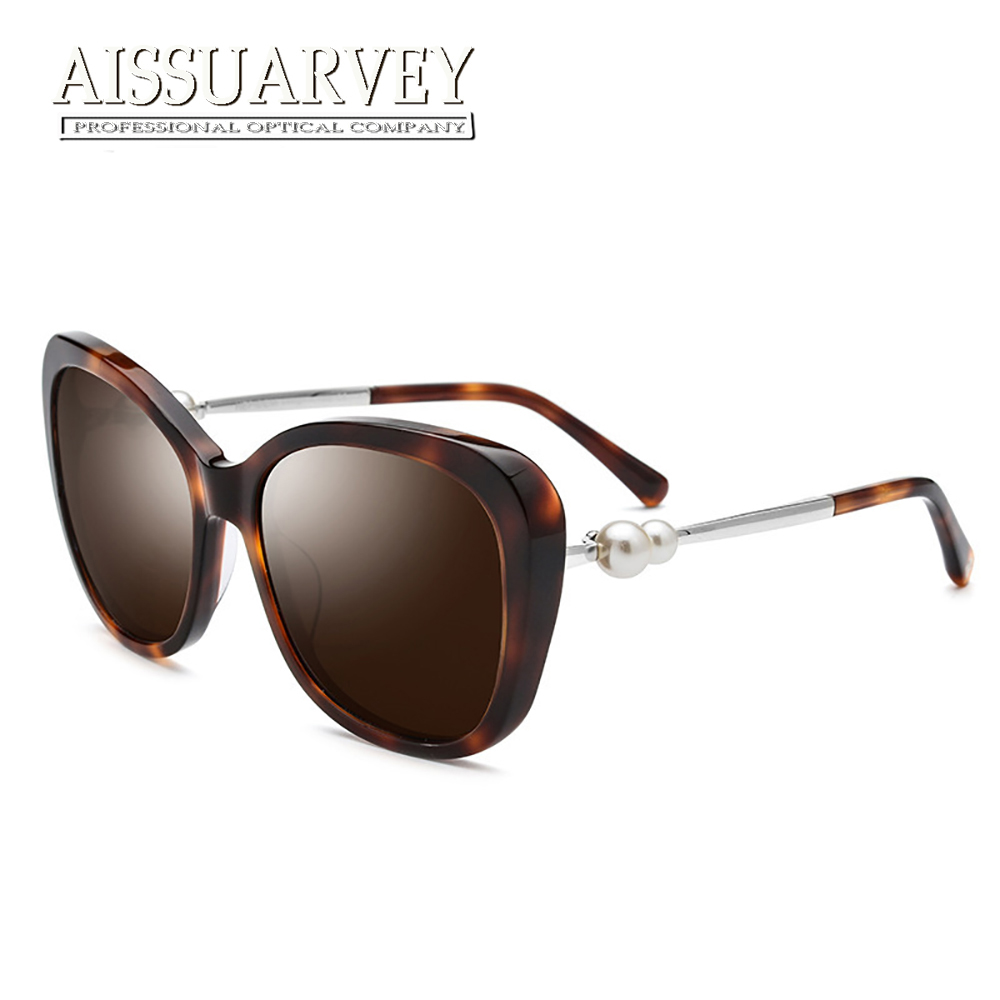 2019 Big Acetate Fashion Polarized Sunglasses For Woman Top Quality Girls Lady Brand Luxury Vintage Pearl