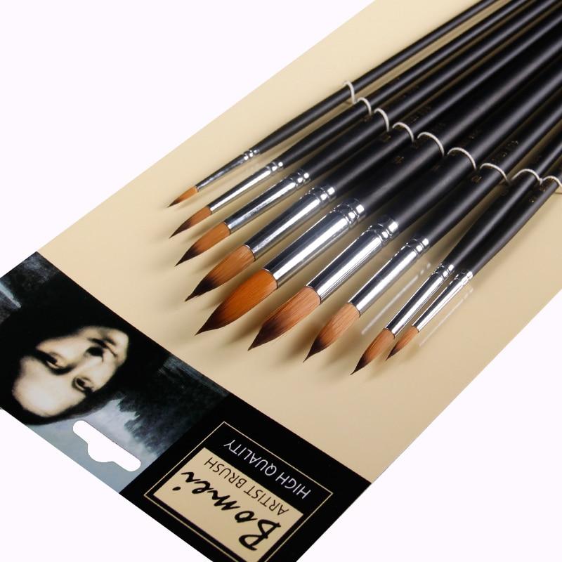BGLN 9 Pcs Long Handle Filbert Shape Brass Ferrules Artist Paint Brushes Set For Watercolor Oil Acrylic Gouache