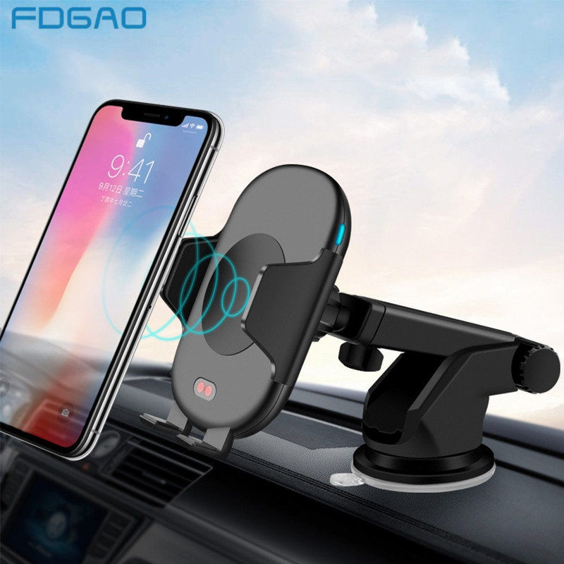FDGAO 10W Car Automatic Qi Fast Wireless Charger Mobile Phone Holder for iPhone XS Max XR X 8 Plus Samsung S9 S8 S7 S6 Note 9 8