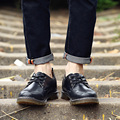 New 2016 Men Leather Casual Shoes Mens Lace Up Oxfords Fashion Waterproof Men's Boat Shoes Outdoor Men Rubber Work Shoes Sapatos