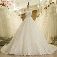 HW091 Sweetheart Applique Zipper A Line Sweep Train Charming Button Lace Wedding Dresses