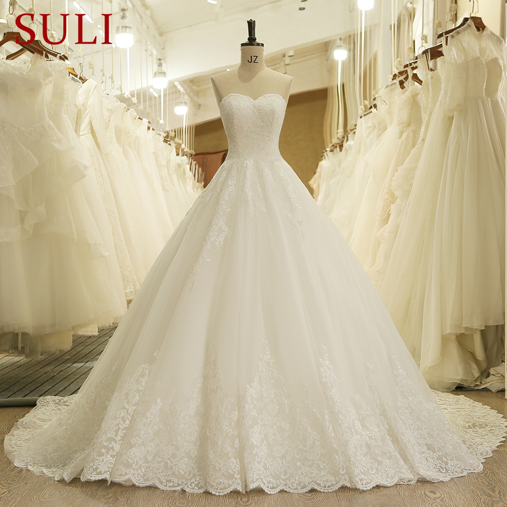HW091 Charming Sweetheart Applique Lace Vintage Bridal Wedding Dress Princess Wedding Dresses Bridal Gown(China)