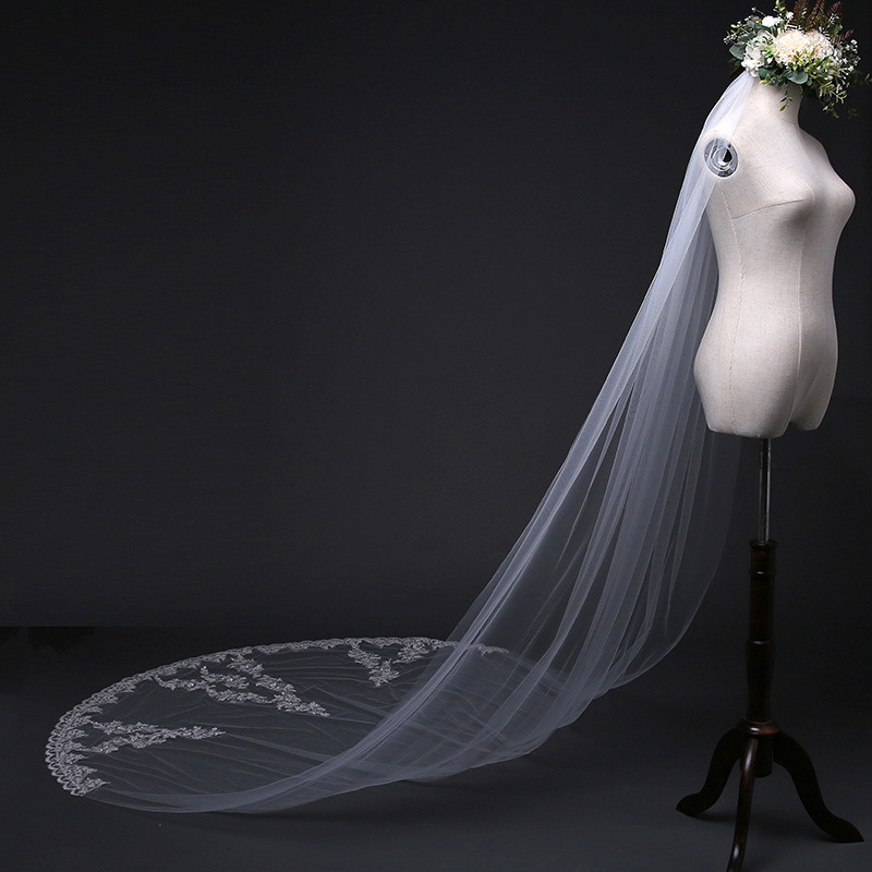 2018 New 2 Meters One Layer Lace Tulle Long Wedding Veil New White Ivory 1 M Bridal Veil With Comb Velos De Novia