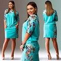 Women dress plus size xxxl 4xl floral print large size casual short sleeve women's summer dresses 2016 Yellow dress robe femme