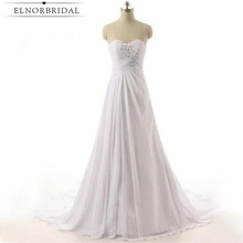 Vestido De Noiva Simple Wedding Dresses Cheap 2017 Sweetheart A Line Chiffon Plus Size Bridal Gowns Handmade Free Shipping