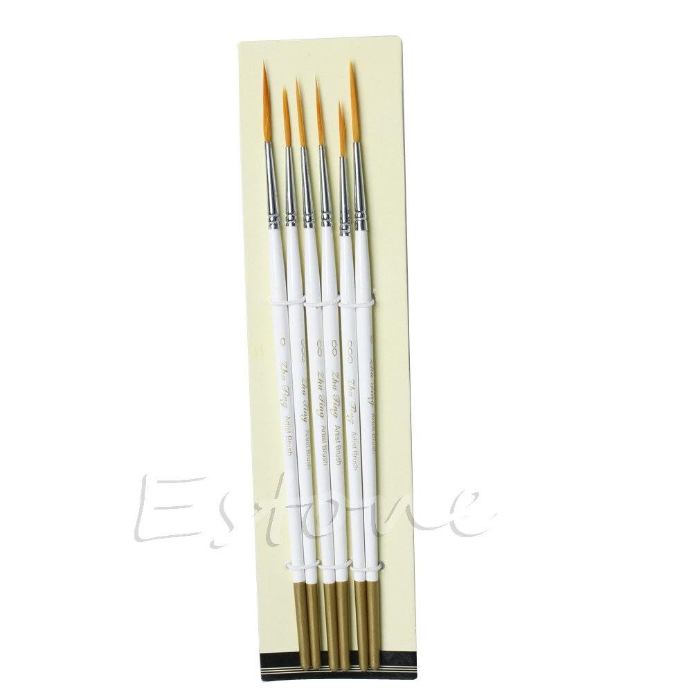6Pcs Round Brush Hook Line Pen Artist Nylon Hair Paint Set Draw Painting Craft Drop Shipping Support
