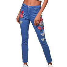 Summer 2017 womens clothing embroidered jeans woman fashion pencil pants high waist jeans trousers pants women