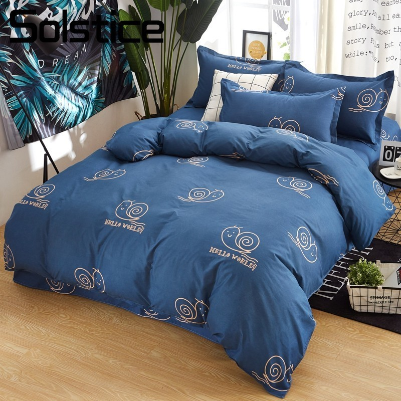 Solstice Home Textile Cartoon Snail Kid Child Bedlinen Dark Blue Bedding Sets Duvet Cover Flat Bed Sheet Pillowcase 3/4Pcs Adult