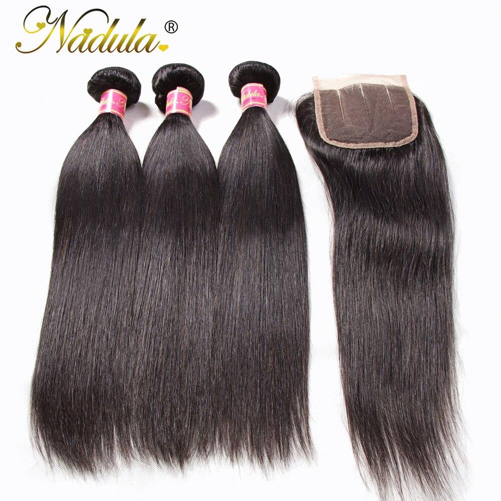 Nadula Hair  Straight Hair Bundles With Closure 8-30inch   Natural Color Hair  Bundles 1