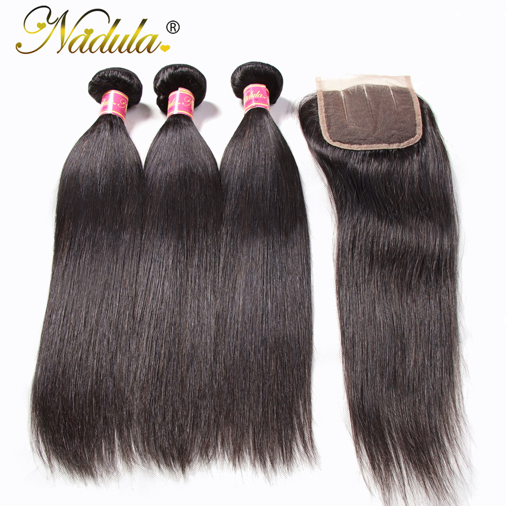 Nadula Hair Malaysian Straight Hair Bundles With Closure 8 30inch Remy Human Hair Extension Natural Color