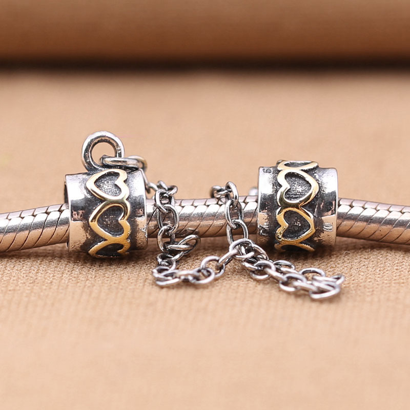 Beads & Jewelry Making 925 Sterling Silver Charms Bead Diy Gold Love Safety Chain For Original Pandora 925 Sterling Silver Bracelets Bangles Xcy139