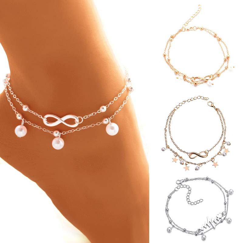 Summer beach letter anklet chain for women girls bohemian pearl multi-layer bracelet on the leg female fashion foot jewellery