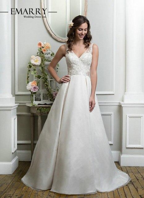 Elegant A Line Wedding Dresses 2016 Hot Sale Sheer Neck Embroidery ...