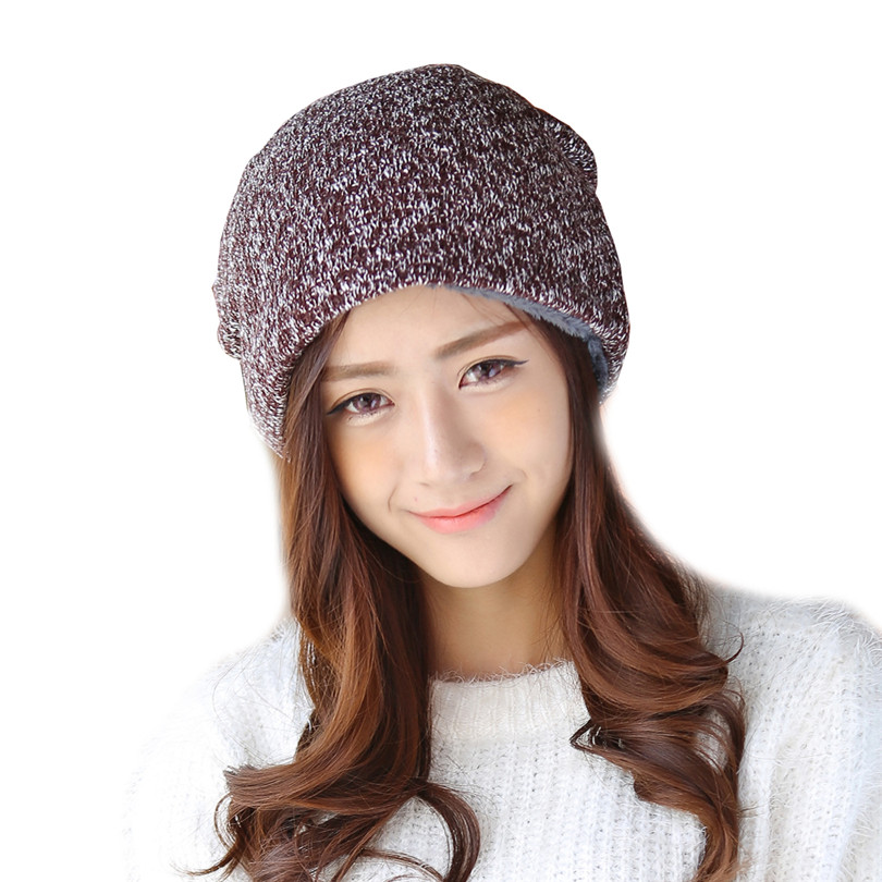 Winter Brand Baggy Cap Bonnet Oversized Beanies Knit Women Hats Skullies Hats For Warm Wool Beanie Gorros Velvet Caps Thick M083 2017 new lace beanies hats for women skullies baggy cap autumn winter russia designer skullies