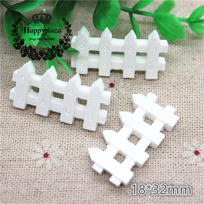 10pcs Cute Resin White Fence Simulation Miniature Art Flatback Cabochon DIY Craft Decoration,18*32mm