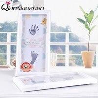 Qianxiaozhen Baby DIY Handprint Footprint Photo Frame Baby Frame Nontoxic Fingerprints Inkpad Baby Shower Souvenir
