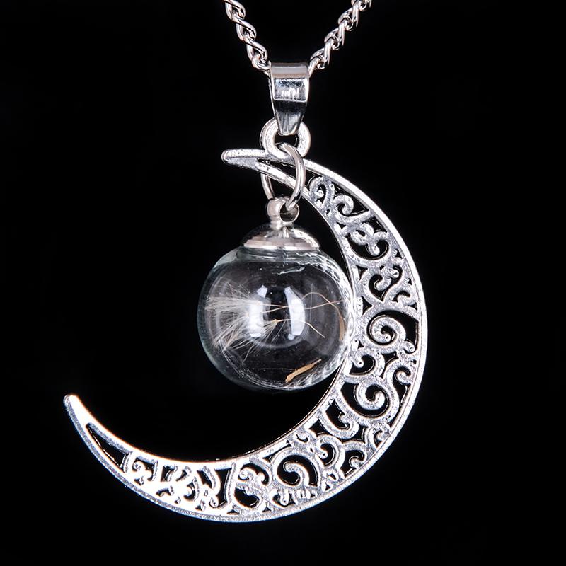Cute Silver Moon Ball Vial Necklace