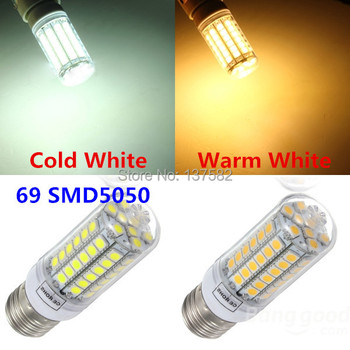 2015 High Brightness LED Bulb E14 E27 69 SMD 5050 LED Corn Bulb Corn Light 360 beam angle AC220V LED Bulb Lamp