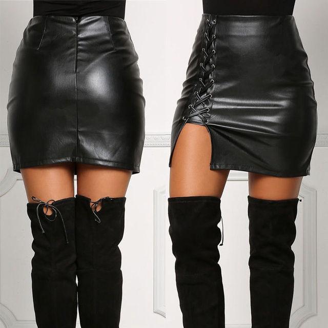 US Fashion Women Sexy Lady Black PU Leather Skirt High Waist Lace-up Back  Zipper Bodycon Slim Asymmetric Party Pencil Mini Skirt 8d3cb4fa42a8