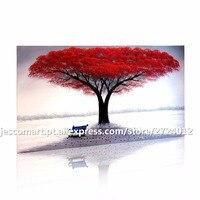 Malarstwo Ścienne Sztuki Czerwony Drzewo Z Ławki Słynny Obraz Olejny Druku na Płótnie Dla Pokoju Wystrój Salonu Biura Hotelu Gotowy Do zawieszony