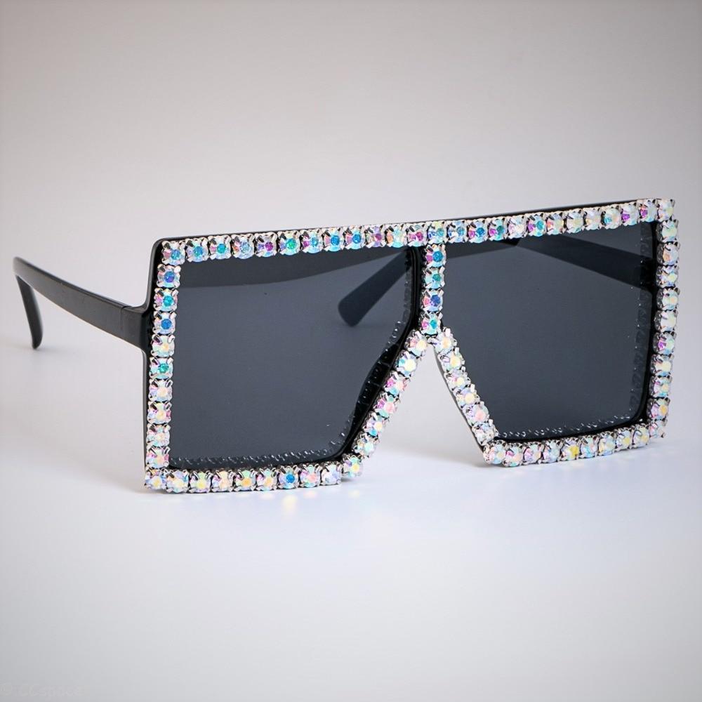 Surdimensionné De Luxe Cristal Diamant lunettes de Soleil Pour Femmes Mode  Nuances UV400 Vintage Marque Lunettes bd80b6c12240