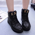 KUYUPP Autumn High Top Casual Women Shoes 2016 Fashion Lace Up Woman Flat Leisure Outdoor Shoes Platform Ladies Shoes S139