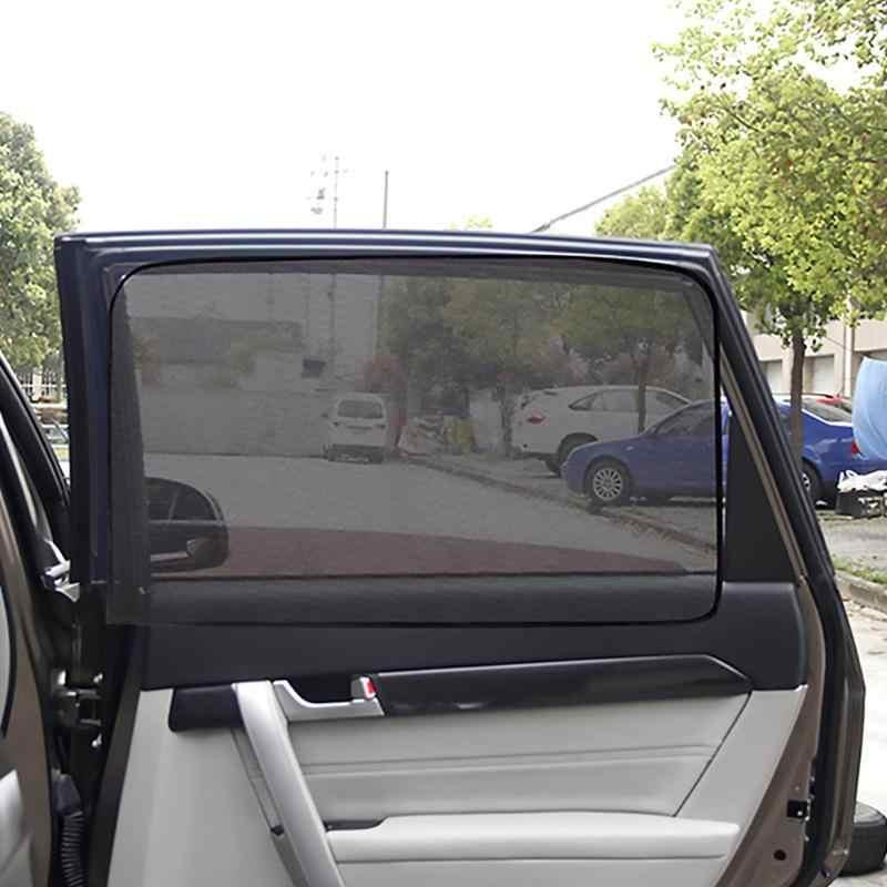 แม่เหล็กรถหน้าต่างบังแดด UV Protection Sun Shade ผ้าม่านรถยนต์ด้านหลังด้านหลังตาข่ายดวงอาทิตย์ Visor Auto Assessoiries