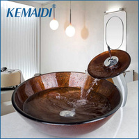 KEMAIDI Bathroom Washbasin Tempered Glass Hand Painted Waterfall Lavatory Bath Combine Brass Set Faucet Mixers Taps Pop up Drain