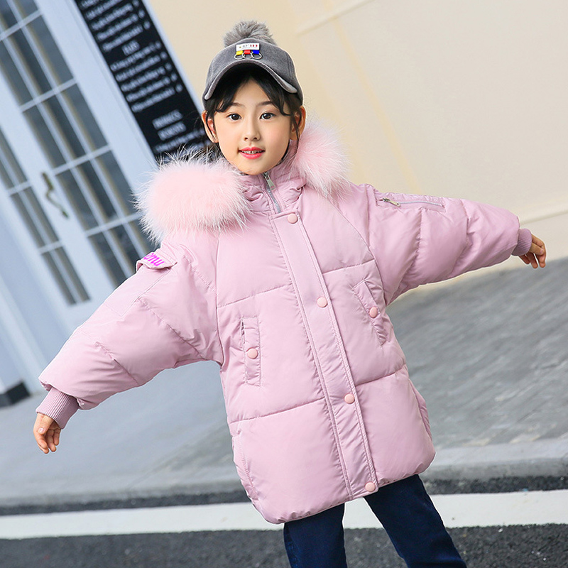 5-13T Girls Down Jackets Hooded Fur Teenager Long Parkas Girl Warm Thicken Duck Down Coats Fashion Design Outerwear -30degree цена