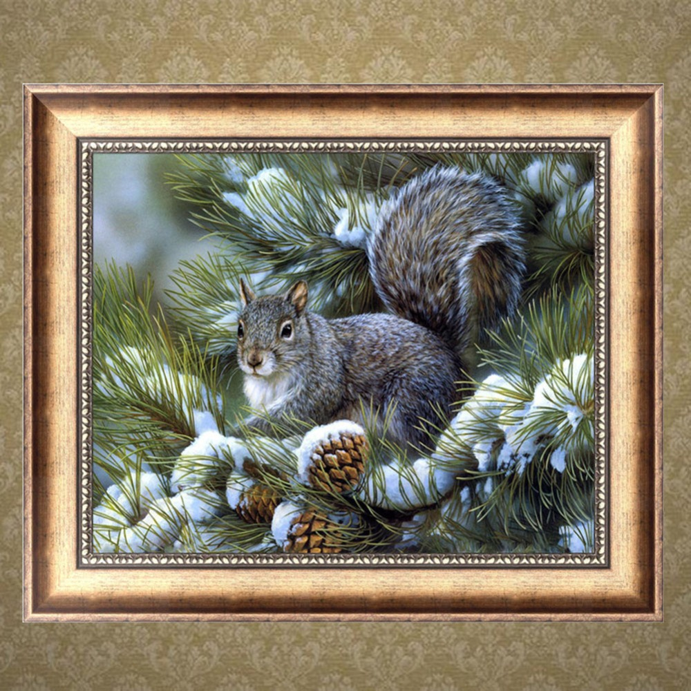 DIY 5D Diamond Painting Squirrel Mosaic Needlework Cross Stitch Home Decor Broderie Diamant Elf On The Shelf Craft 38*30cm