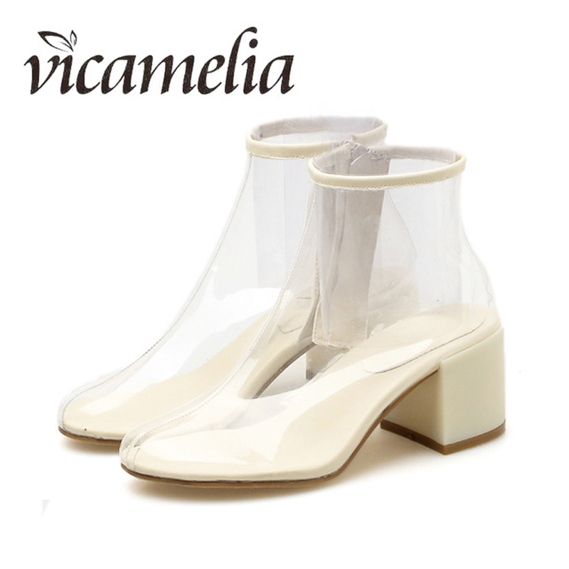 Vicamelia Women Fashion Clear PVC Boots Zipper Transparent New Chunky Heel Martin Boots Spring Autumn Round Toe Ankle Boots 131 zhen zhou 2017 spring and autumn women s new fashion trend leadership the increased martin boots exemption from postage