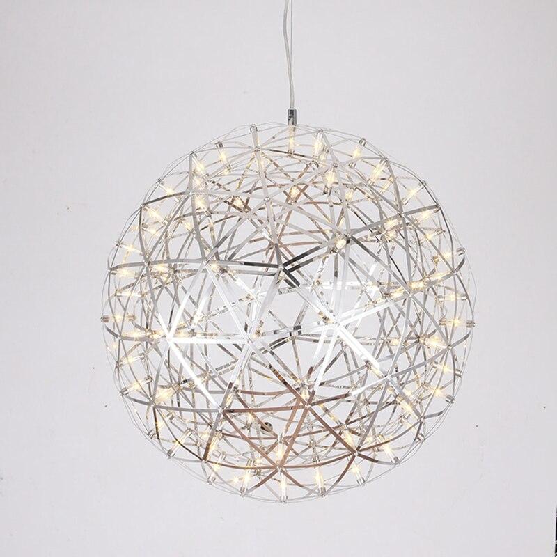 Hand Made Stainless Steel Firework Pendant Light Modern Pendant Lighting Villa Hotel Project Lighting Ball Restaurant