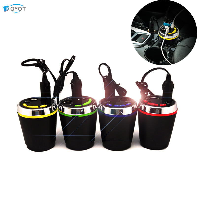 2 USB Car Bluetooth Auto FM Trasmettitore USB Car Charger Cup Cigarette Lighter Splitter Power Charging For Smart Mobile Phones