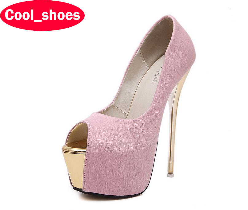 16CM Super High Heels Brand New Sexy Peep Toe Party Dress Shoes Women Thin Heels Platform Pumps Plus Size Zapatos Mujer 609